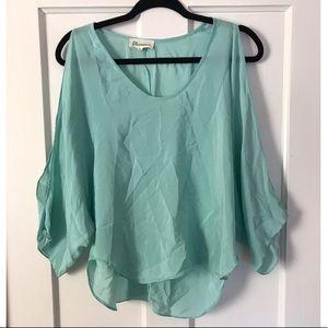 Olivaceous blue long sleeve blouse